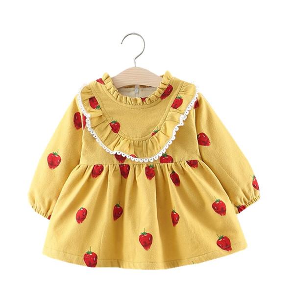Infant inverno spesso pizzo con scollo a V principessa Dress Newborn Strawberry Stampa maniche lunghe in cotone caldo primo abito di compleanno per la neonata