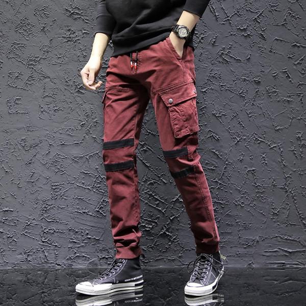 Rectos ocasionales algodón masculino Slim Fit Sport pantalones largos bolsillo del pantalón pantalones hombre calca masculina de alta calidad W912