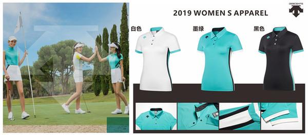 Women DESCENTE golf T-shirt new Summer Short sleeve T shirt 3 colors Golf clothes Sportswear S-XXL brand slim Jersey