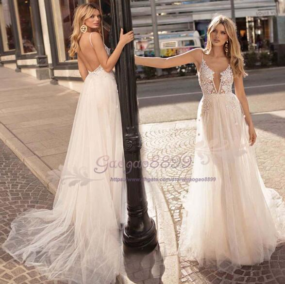 2019 Berta A-Line Wedding Dresses With sweep train Lace Applique Deep V neck Beach Wedding Gowns see through spaghetti Sexy Bridal gowns