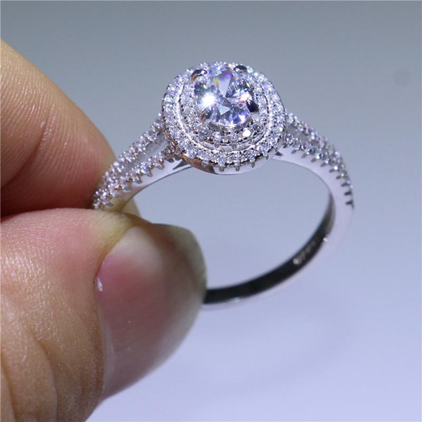 Pay4U Solid 925 Sterling Silver Wedding Ring 2Ct Diamonique CZ Prong Setting Fashion Jewelry Gift For Bride Size 5-9 Wholesale And Retail