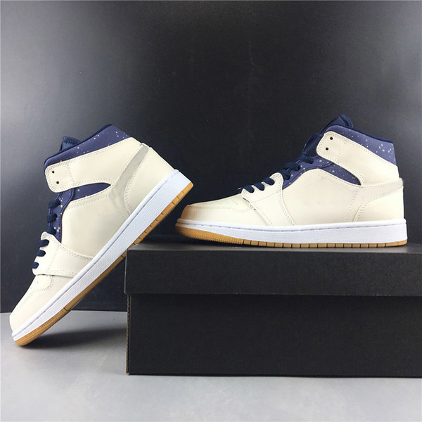 2019 Mid Hei Basketball Shoes 1s Navy Blue Designer Mens Women Real Leather Fashion Athletic Sport Sneakers Size 36-46
