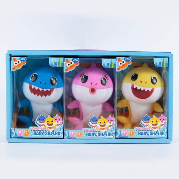 18cm Cartoon Baby Shark Toys Singing Songs Lighiting Toy 3 Candy Colors Chlid Party Favor lovely gift