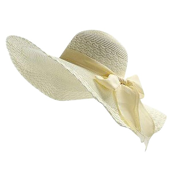 Women Colorful Big Brim Straw Bow Hat Sun Floppy Wide Brim Hats Beach Cap