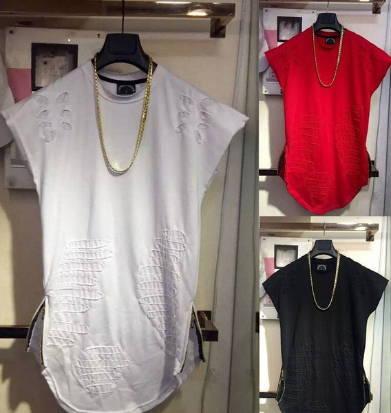 Kanye West Destroy t-shirt Summer Sleeveless Tank Tops Holes Patched O-neck Long Solid Tees TOP