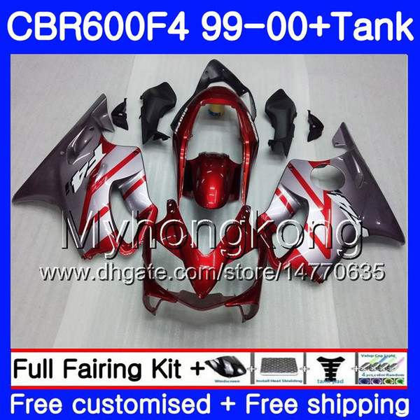 Body Tank For HONDA CBR600 F4 CBR 600 FS F 4 287HM0 CBR600F4 99 00 CBR600FS 600F4 1999 2000 Fairings Kit Glossy Silvery Red