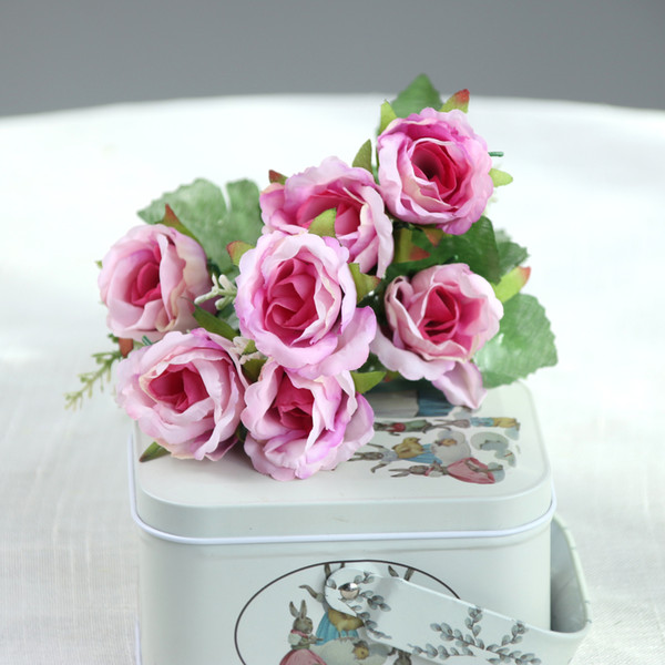 10 Unids / lote Flor Artificial 5 Tenedor borde rizado Rosa Seda Flores Decoración de La Boda Decoración Del Hogar Ramo Falsas Plantas Directo de Fábrica