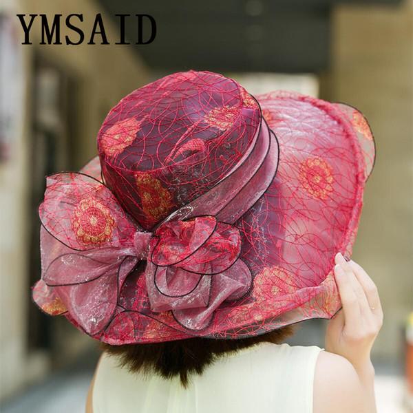 Vente en gros 7 chapeaux d'église de femmes de la mode élégante couleur chapeau de plage femme été Gorras chapeau de soleil de mariage Vintage Kentucky Derby chapeaux