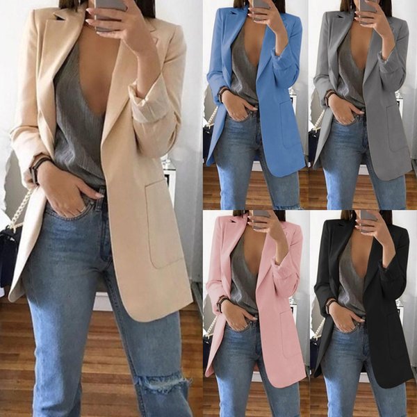 Summer Slim Women Jacket Coat Long Sleeves Turn-Down Collar Cardigan Mid Solid Female Coat Autumn Fashion Casual Clothes 2019