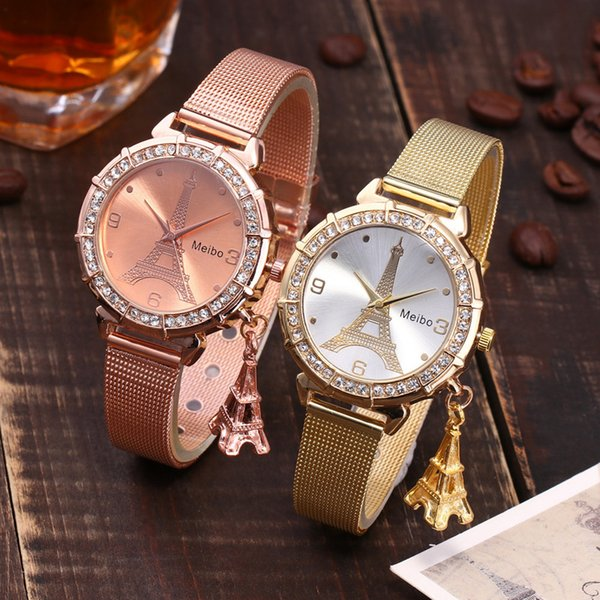 2018 New Arrival Hot Sale Paris Eiffel Tower Women Lady Girl Stainless Steel Quartz Wrist Watch Relojes Gif