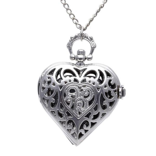 Pingente de coração de prata de quartzo vintage cadeia de relógio de bolso unisex