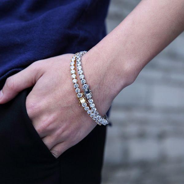 Mode 14k Or Bracelet Mens Box Chaîne Bracelets Pleine Strass Cristal Hip Hop Bijoux En Acier Inoxydable Bracelet Bracelets Pour Hommes