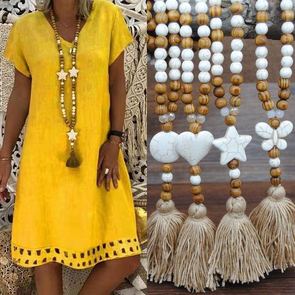 Mujeres Boheimian Moda Cadena larga Cuentas de madera Borla Collar Mariposa Corazón Estrella Cruz Turquesa Piedra Cuentas Joyas