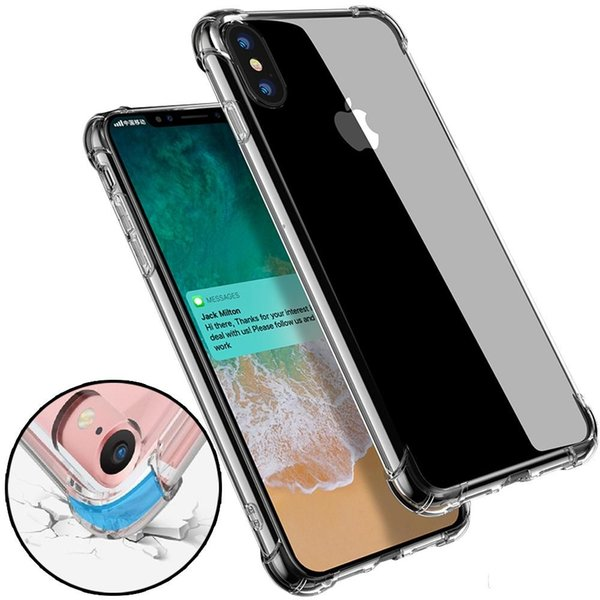 super anti-knock soft tpu transparent clear phone case protect cover shockproof soft cases for iphone 6 7 8 plus x xr xs max s8 s9 s10 note