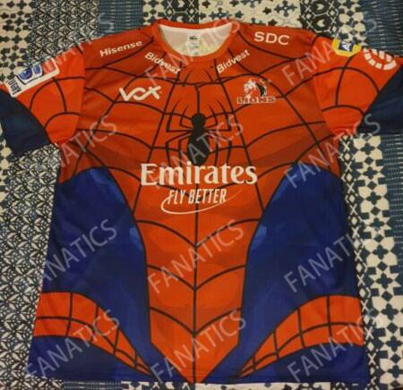 2019 New Super Rugby Mens South African Emirates Lions The Lions Marvel Comic SuperHero Spiderman Fan Tee Spider-man Marvel Jerseys