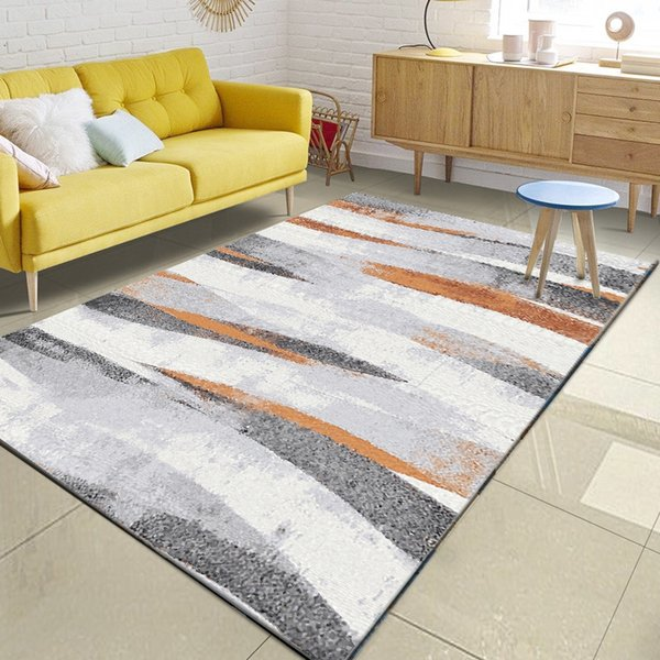 Nordic Minimalist Grey Orange Pattern Area Rug Living Room Sofa Coffee  Table Large Carpet Bedroom Kids Tatami Non Slip Floor Mat Laying Carpet  Lees ...