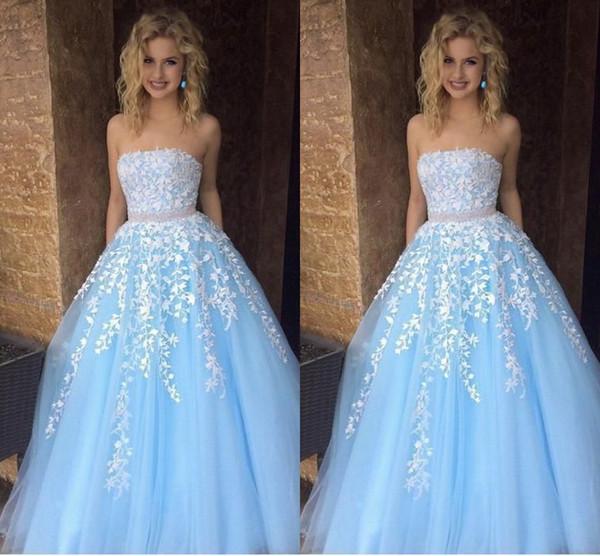 Compre Azul Blanco De Encaje Vestidos Para Ocasiones Especiales Vestido De Fiesta 2019 Fajas Moldeadas Sin Tirantes Vestido De Noche Elegante Formal