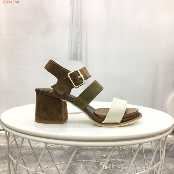 2019 Erken ilkbaharda podyum tıknaz yüksek topuklu sandaletler, Çok renkli dikişli kadın ayakkabı, topuk yüksekliği 6.5 cm