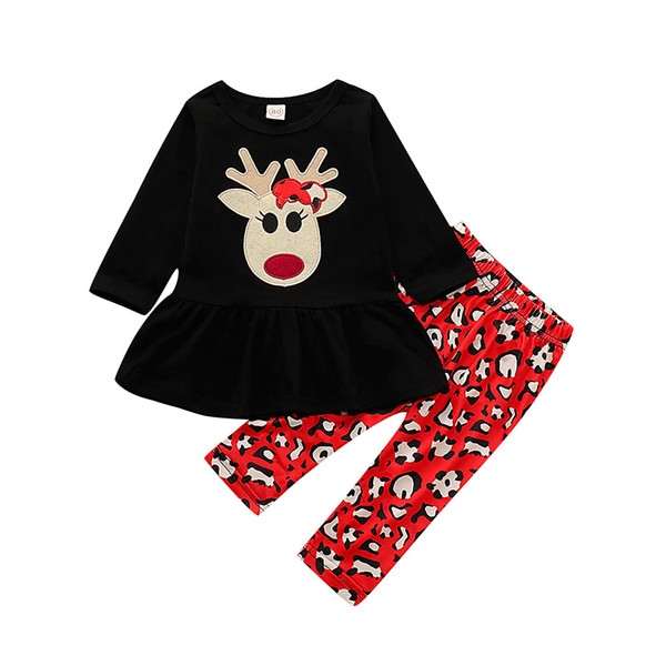 Christmas Infant Baby Girl Clothes Toddler Deer Dress Tops Long Pants Set Xmas Cute 2pc Outfit