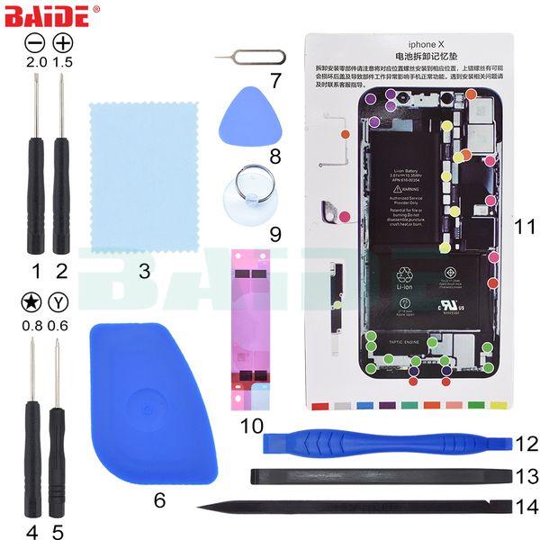 14 in 1 Mobile Phone Battery Repair Tools Kit For iPhone 5 6 7 8 X Battery Replacement Bundle Machine Tool Set