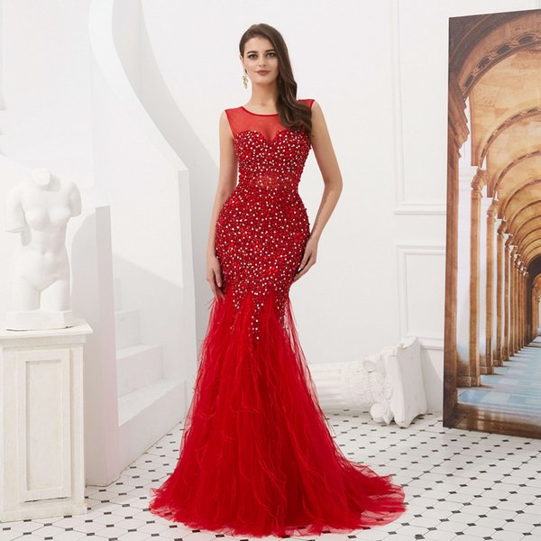 2018 Sheer Jewel Neck Mermaid Evening Dresses Red Feather Evening Gowns Party Prom Dresses Plus Size Custom Made