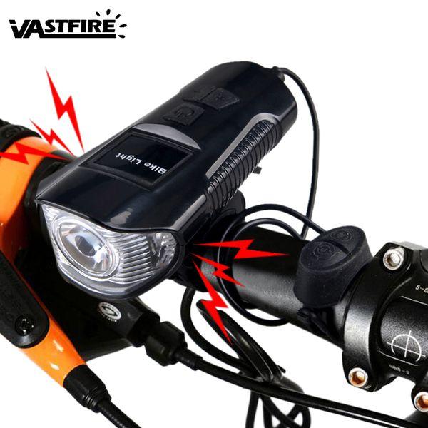 VASTFIRE USB Rechargeable VTT Lumière de vélo Avant Télécommande Klaxon Speedmeter Vélo Phare Vélo Lanterne Cloche Vélo Lumière