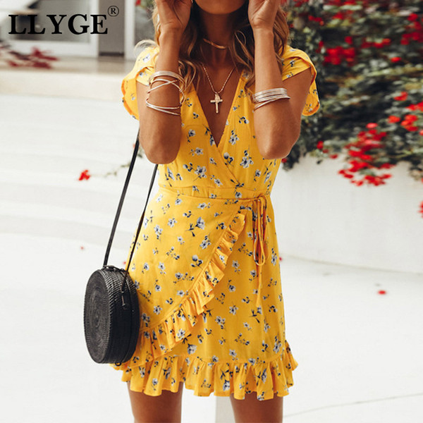 Bohemian Floral Print Ruffle Sash Women Dress V-neck Short Sleeve Bodycon Ladies Mini Dresses 2019 Summer Casual Female Vestidos