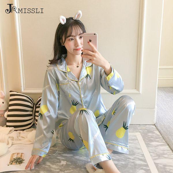 JRMISSLI Print Women Pajamas Suit Autumn Spring 2pcs Shirt pant Sleep Wear Casual Silk Home Clothes