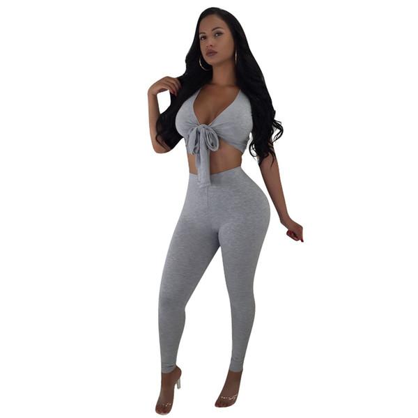 Conjunto de dos piezas sexy para mujer Oufits de verano Conjunto de pantalón y top corto con nudo gris Conjunto de dos piezas Conjunto de chándal