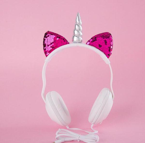 Cute Unicorn Ear Hifi Sports Earphone Headband Headphones Super Bass Gaming Headphone Earbuds For Android IOS Mobile Accessories