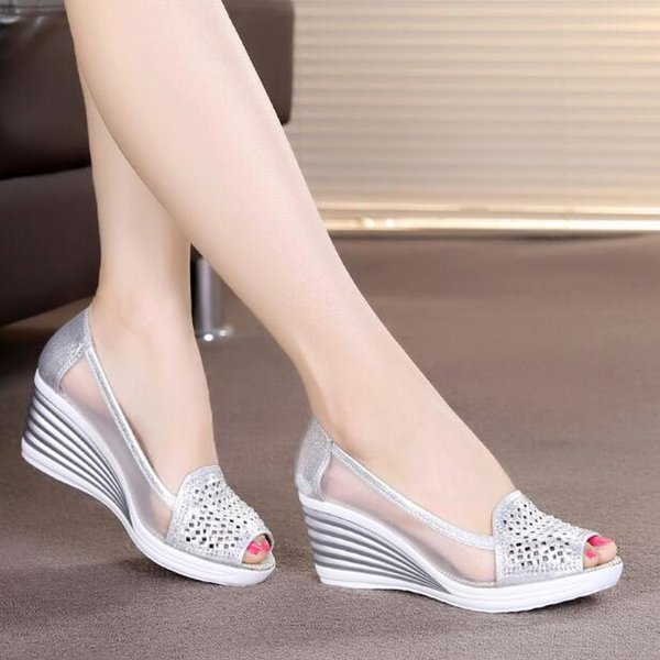 2019 Womens Wedges Shoes Peep Toe High Heels Summer Mesh Shoes Lady aa0211 Sandali sexy per le donne