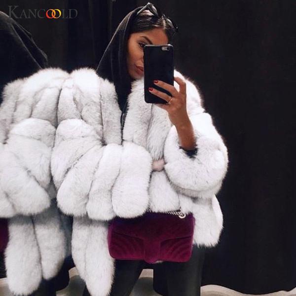 KANCOOLD coats Women Plus Size Short Faux Fur Outerwear Warm Furry Jacket Long Sleeve fashion coats and jackets women 2019AUG26