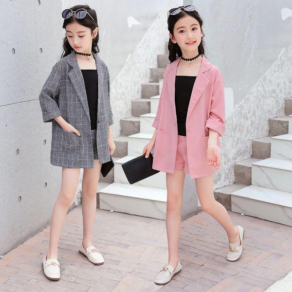 Kids Girls Blazer Jacket + Vest + Shorts 3PCS Tuxedos Suit for Kids Suit Children Girls Blazer For Wedding Party Pink Grey Color