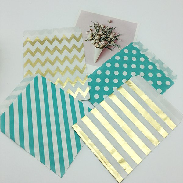 FreeShip 500pcs Flat Colorful Paper Bag Birthday Party Kids Favor Candy Gift Bag Treat Food Packaging Stripe Chevron Dot Bag