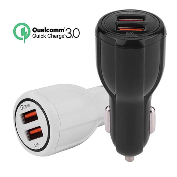 Cargador de coche cargador rápido de CC Sport 3.0 USB adaptador dual de la carga del coche rápido LED móvil al por mayor de doble puerto USB del teléfono
