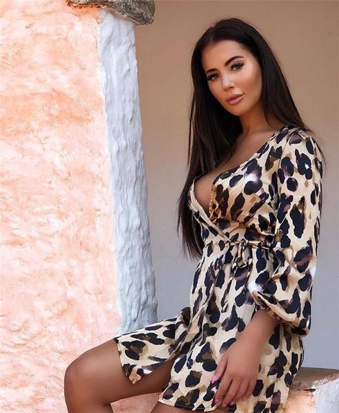 Femmes été sexy léopard robes partie col v mode jupes courtes night club femme classique vêtements