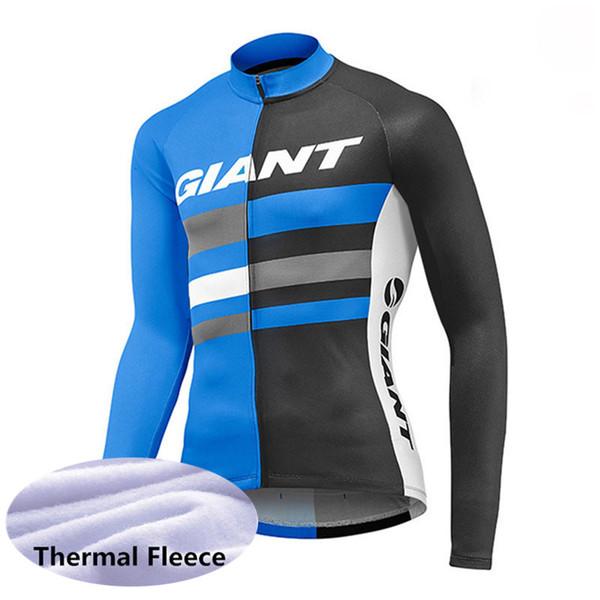 Novo 2019 GIANT Camisas de Ciclismo de manga Longa camisa de Bicicleta homens inverno térmica de lã de ciclismo roupas mtb Bicicleta maillot Ropa ciclismo K053145