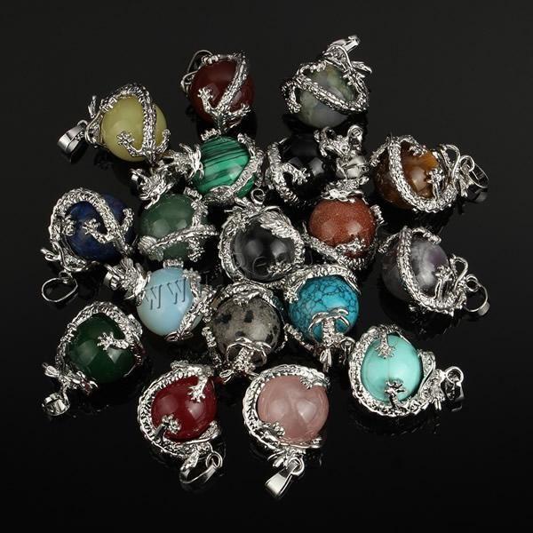 Wholesale- Free Shipping 16MM Mix-Stone Pendant Amethyst Lapis Lazuli Carnelian Turquoise Onyx Jasper Opal Agate Round Bead Dragon Pendant