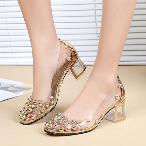 US4-11 Femmes Bout Toit Clair Rivets Transparents Goujons Chunky Chaussures À Talons Hauts Pompes Bas Haut Slip Sur Plus La Taille A262
