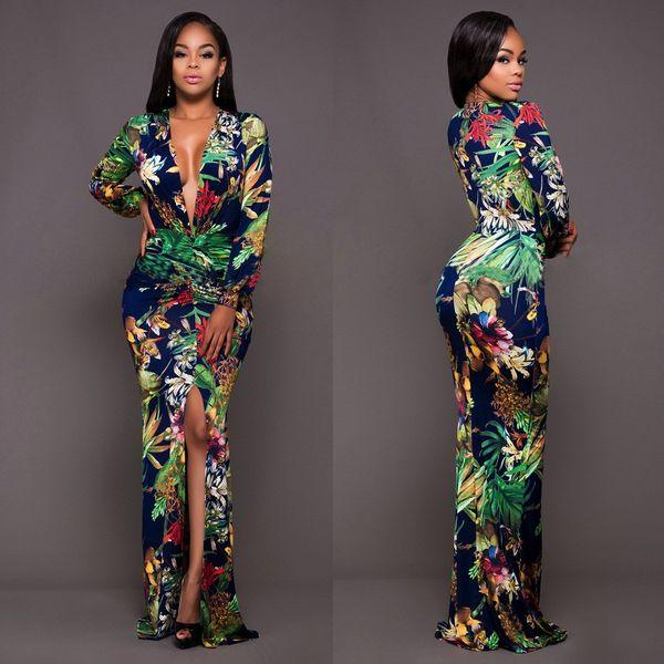 Büyük Boy Çiçek Baskı Kadınlar Uzun Kollu Seksi v Yaka Tunik Vintage Maxi Elbise Artı Boyutu Bölünmüş Robe Femme Vestidos De fiesta YD5008
