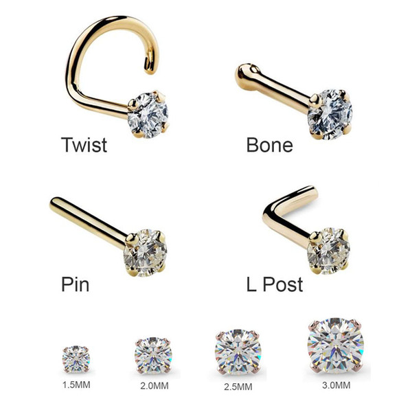 1Pc 1.5 2mm 2.5mm 20G Zircon Nose Stud Steptum Nose Studs Hooks Bar Pin Nose Rings Body Piercing Stainless Steel Jewellery