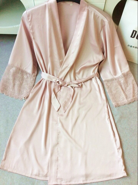 Mid-sleeve sexy women nightwear robes plus size M L XL XXL lace real silk female bathrobes free shipping