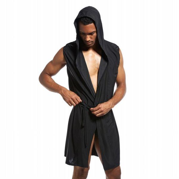 Men Bathrobe Cotton Ice Silk Hooded Pajamas Sexy Badjas Kimono Bath Robe Belted Man Gown Roupao Peignoir Homme Summer Sleepwear