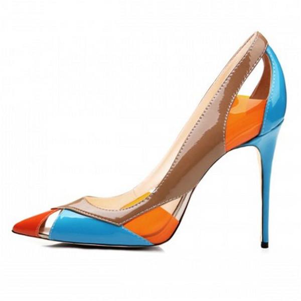 2017 ZK chaussures nouvelle arrivée à la mode split femmes pompes 10 cm hauteur talon aiguille sandales couleur vive taille US4 ~ 12.5