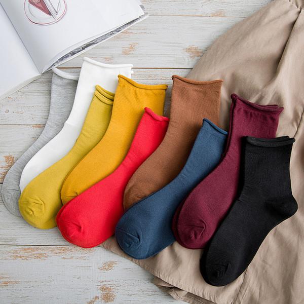 1 pair japanese korea high school girls mid socks loose solid colors cotton long socks women colorful tube base thumbnail