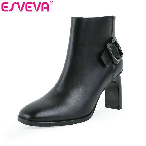 esveva 2020 women shoes winter ankle boots pointed toe leather+pu zipper high heel motorcycle platform boot size 34-43 - from $71.99