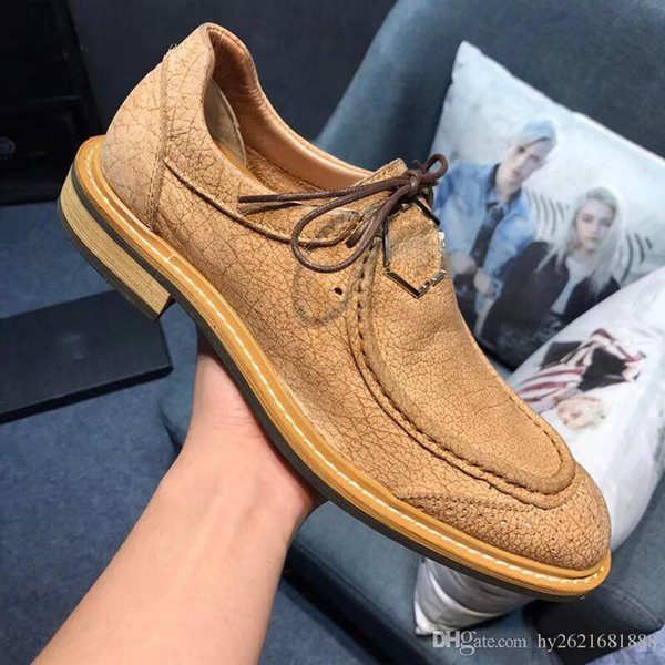 2018 New Men's Vintage Leather Shoes Formal Dresses Party Shoes German Fashion Design Lace Up Leather Shoes