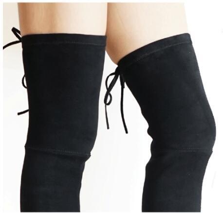 Damenstiefeletten Fold Over Kniestiefel aus LederFlat Bottom Elastic Slim Leg Fashion Brand Bankett Celebrity Soft Suede klassische Nachtclub-Stiefel