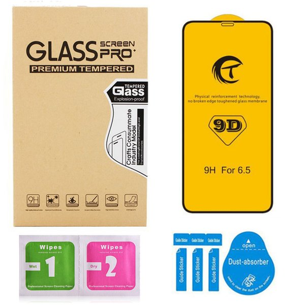 9d curvo de vidro temperado para o novo iphone xs xs max x / 10 7 8 6 plus 9 h protetor de tela de alta qualidade com pacote