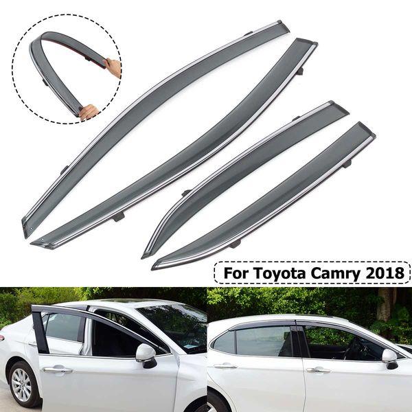 4 pcs Janela Do Carro Viseira Protetores de Chuva Protetores de Vento Viseira Capa Guarnição Para Toyota Camry 2018